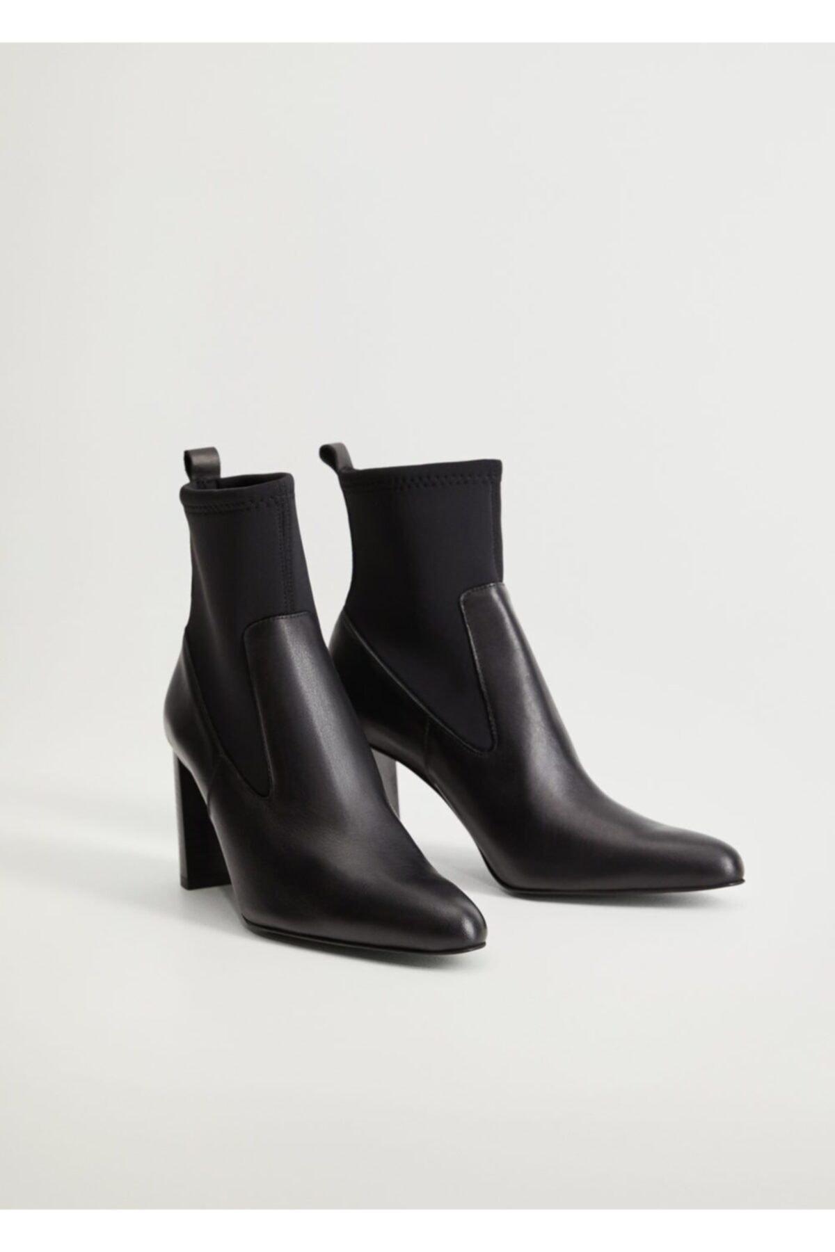 Violeta by MANGO Kadın Siyah Deri Çorap Bot 77092003 1