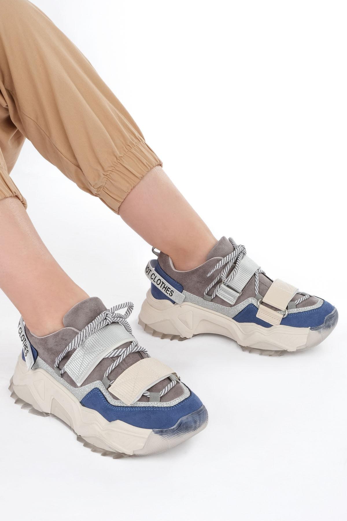 Marjin Kadın Sax Mavi Süet Sneaker Dolgu Topuklu Spor Ayakkabı Cakir 2