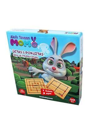 BEMİ Akıllı Tavşan Momo Ahsap Üçtaş & Dokuztaş Oyunu /