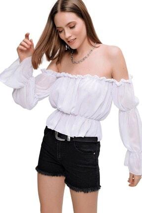 butikburuç Kadın Beyaz Straplez Şifon Bluz