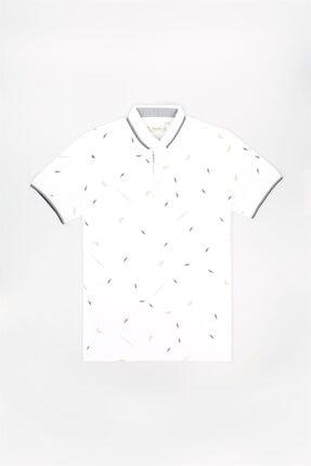 Jakamen Beyaz Slim Fit Polo Yaka T-shirt