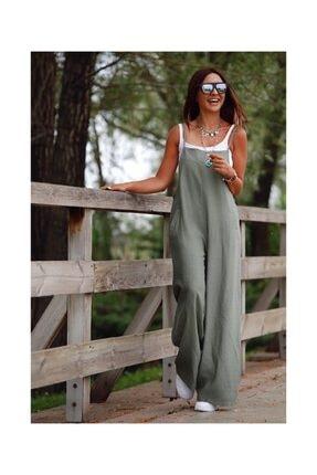 Viyamo Kadın Yeşil Atlet Dahil Janes Aerobin Kumaş Tulum 46140cm