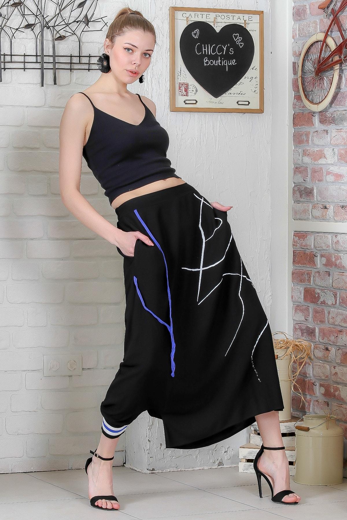 Chiccy Kadın Siyah-Mavi Tek Paçası Lastikli Diğeri Açık Çizgi Baskılı Şalvar Pantolon  M10060000PN98916
