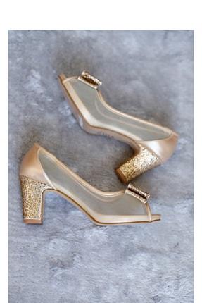 PUNTO Kadın Transparan Detaylı Taşlı Topuklu Ayakkabı