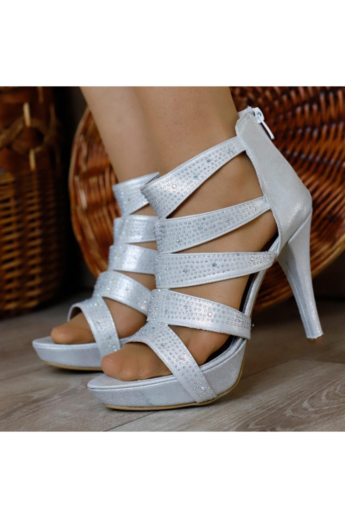 PUNTO Kadın Gümüş Açık Topuklu Ayakkabı 2