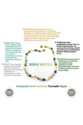 OSMANLI DOĞAL TAŞ Bebek Kehribar Kolye-kehribar-amazonit-yeşim-havlit-turmalin (33-35 Cm)