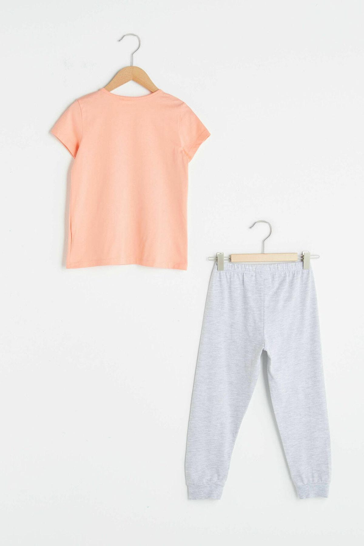 LC Waikiki Kız Çocuk Mercan Fmf Pijama Takımı 2
