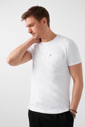 Buratti Erkek Beyaz Pamuklu Bisiklet Yaka Cepli T Shirt