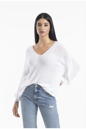 Su Moda Kadın,pia Femina,baharlık Ön Arka V Yaka Balon Kol Merserize Kazak,beyaz