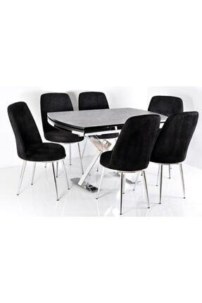 Kaktüs Avm 6 Kişilik Açılır Masa Sandalye Takımı X Ayak Masa Yemek Masası Salon Masası Mutfak Masası