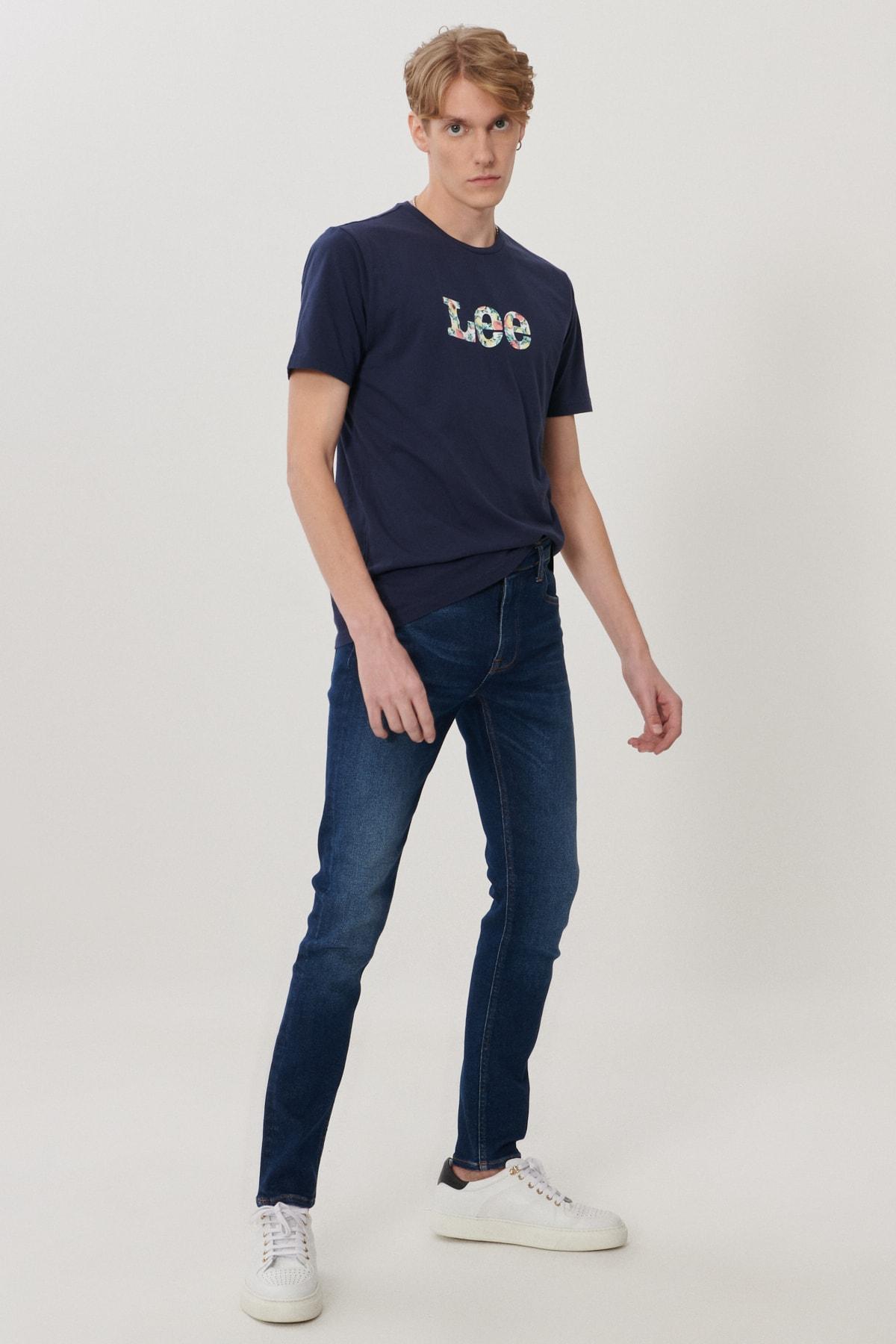 Lee Malone Erkek Koyu Mavi Skinny Normal Bel Çok Dar Paça Esnek Jean Pantolon