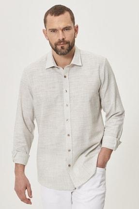 AC&Co / Altınyıldız Classics Erkek Haki Tailored Slim Fit Klasik Gömlek Yaka %100 Koton Gömlek