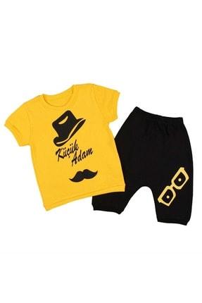 Babyboy Erkek Çocuk Tişört Şort 2li Takım Küçük Adam Baskılı - Sarı - 6-9 Aylık