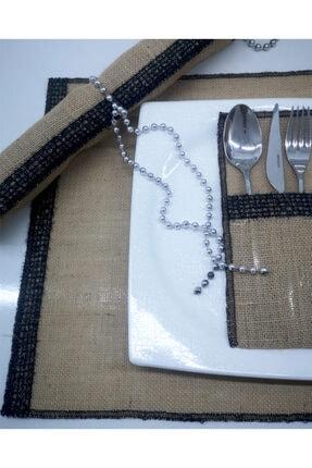 Mutfakta Moda Hasır Amerikan Servisi Ve Kaşıklık Seti / Şapkalı Kadın Jüt Amerikan Servisi 6 Kişilik 12 Parça