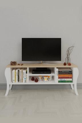Platinreyon Modern Lukens Ayaklı Kapaksız Tv Ünitesi 120cm Televizyon Sehpası Meşe