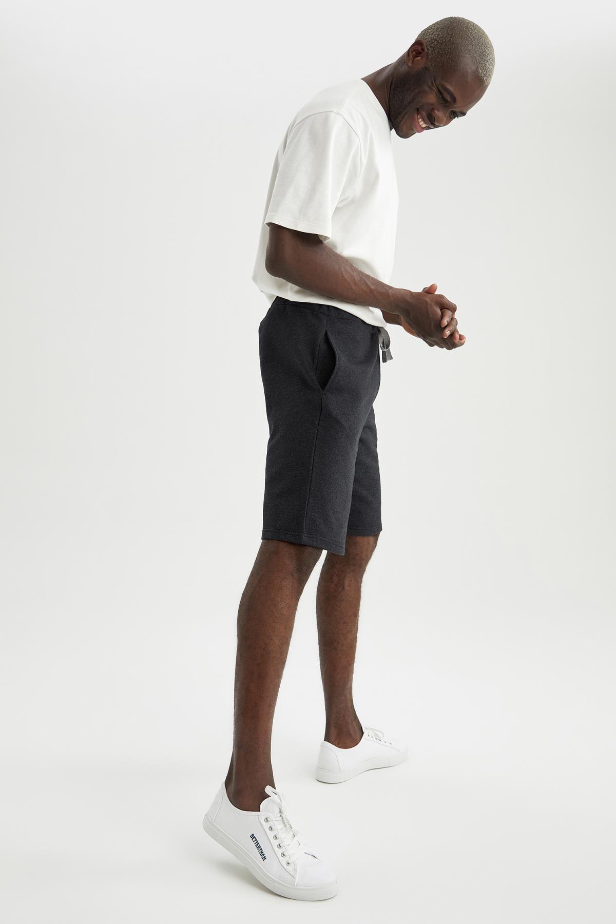 DeFacto Erkek Siyah Basic Regular Fit Örme Şort