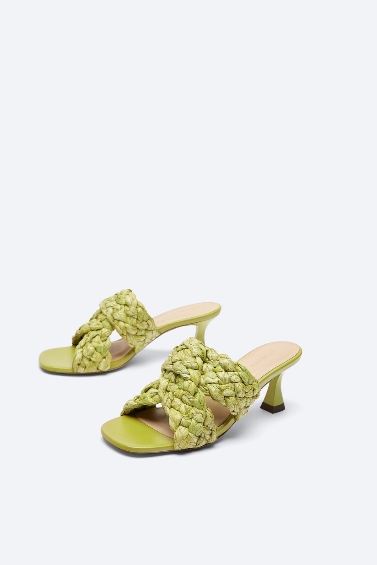Uterqüe Kadın Misket Limonu Pilili Rafya Sandalet 17505780