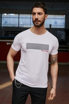 Sateen Men Beyaz Kabartma Baskili T-Shirt