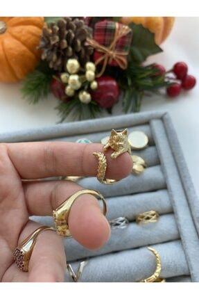 Flora 18k Altın Kaplama Gold Kedi Yüzük