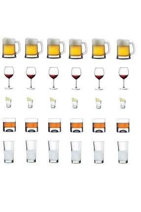 Paşabahçe 30 Parça Mega Meşrubat Seti Takımı Rakı-bira-shot-şarap-viski