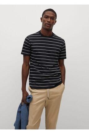 MANGO Man Erkek Siyah Beyaz Çizgili Bisiklet Yaka  T-Shirt
