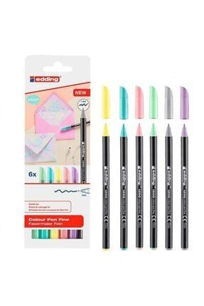 Edding 6lı Set Pastel Renkler 1200 Ince Uçlu Keçeli Kalem Grafik Kalemi