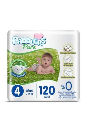 Paddlers Pure Bebek Bezi 4 Numara Maxi 120 Adet 7-14 kg Süper Fırsat Paketi