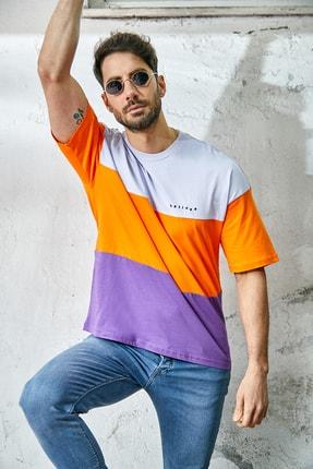 Sateen Men Erkek Mor-Lila Parçalı T-Shirt