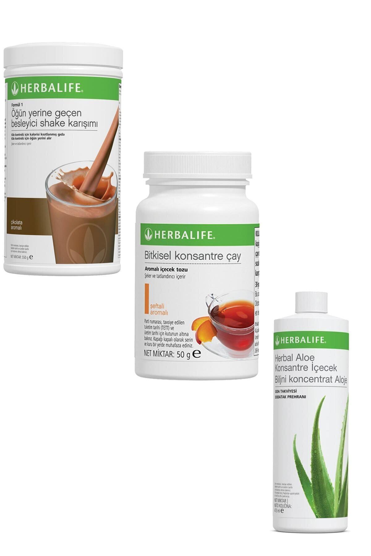 Herbalife Shake 1 Adet Çikolatalı 1 Adet Şeftali Çay 50 gr 1 Adet Ve 1 Adet Herbal Aloe Içecek 1