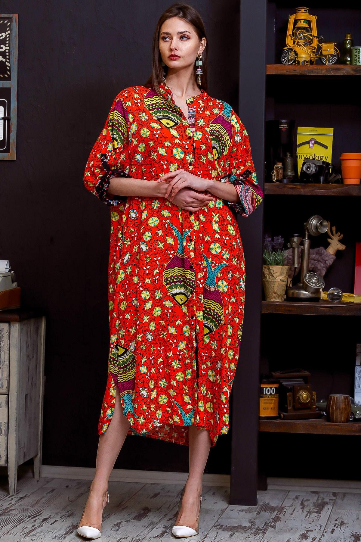 Chiccy Kadın Nar Çiçeği Çini Balık Desenli Düğmeli Salaş Dokuma Gömlek Elbise M10160000EL95904