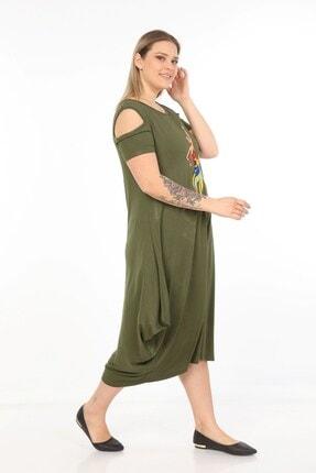 Womenice Kadın Haki Önü Baskılı Büyük Beden Elbise