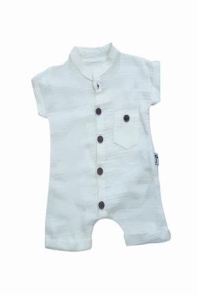 Murat Baby Organik Dokuma Beyaz Unisex Bebek Müslin Tulum