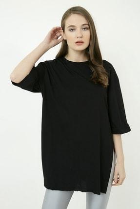 Vis a Vis Kadın Siyah Yırtmaçlı Oversize Tshirt STN529KTS106