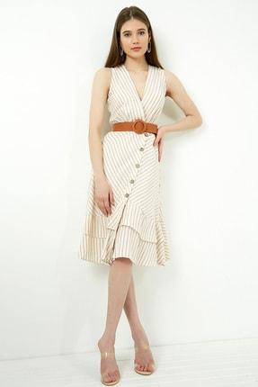 Vis a Vis Kadın Taş Volan Detaylı Kemerli Keten Elbise