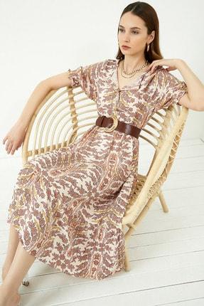 Vis a Vis Kadın Ekru Salaş Çiçekli Elbise