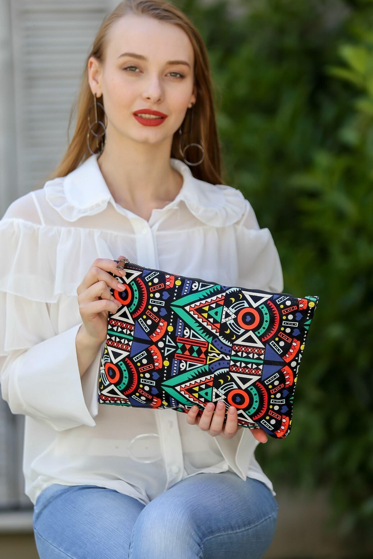 Chiccy Kadın Renkli Vintage Tribal Desenli Vegan Clutch Çanta C30090400Cf97322 2