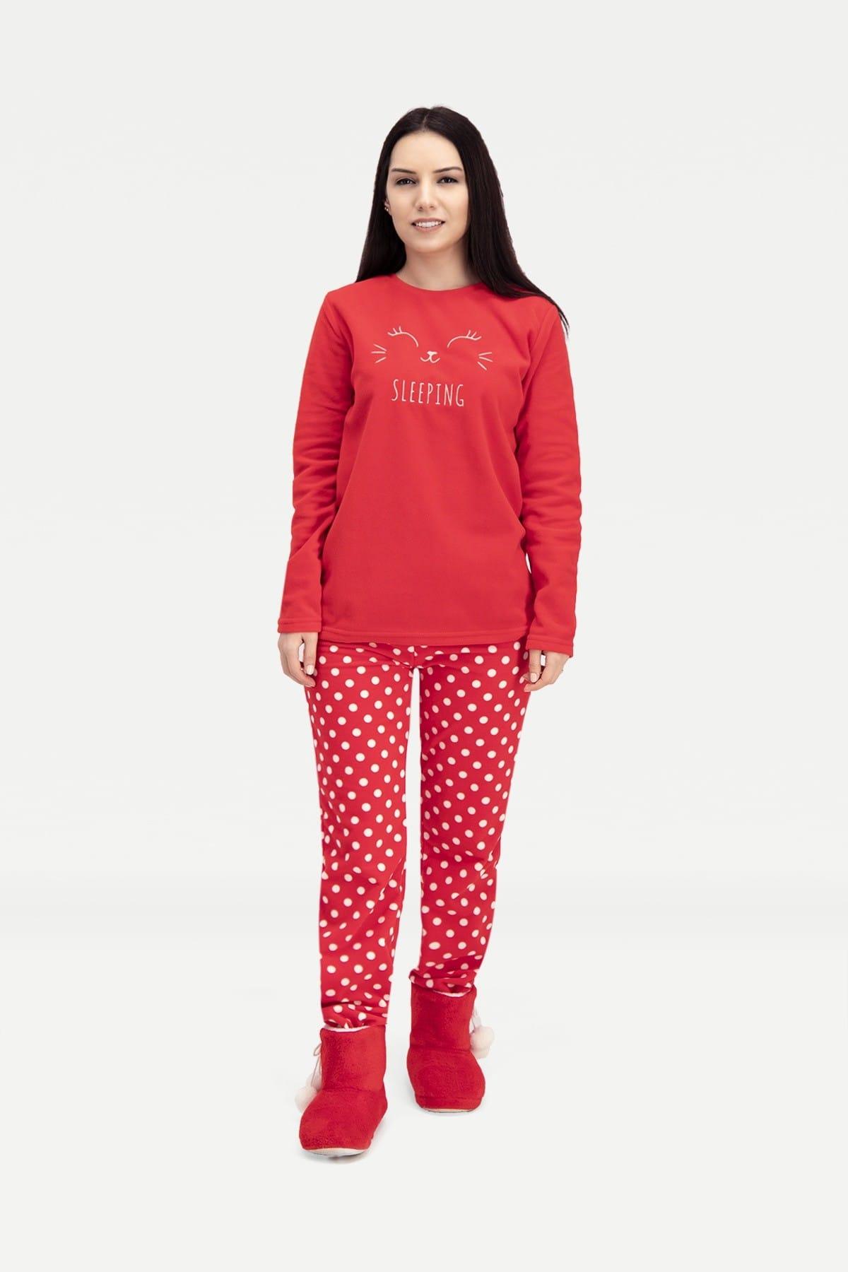 ROLY POLY Sleeping Bunny Polar Kadın Pijama Takımı Kırmızı 1