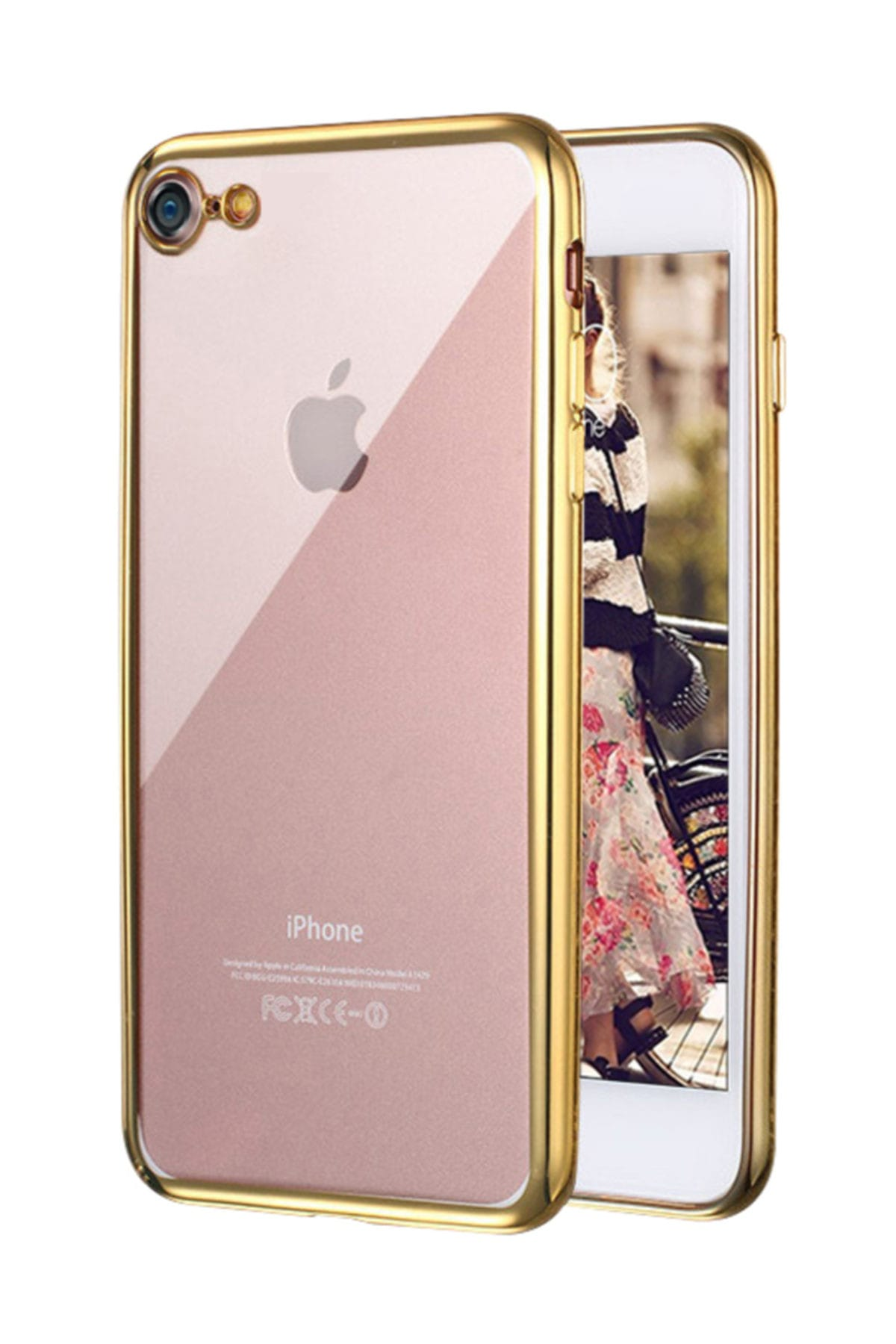 Microsonic Apple iPhone 7 Kılıf Flexi Delux Gold 1