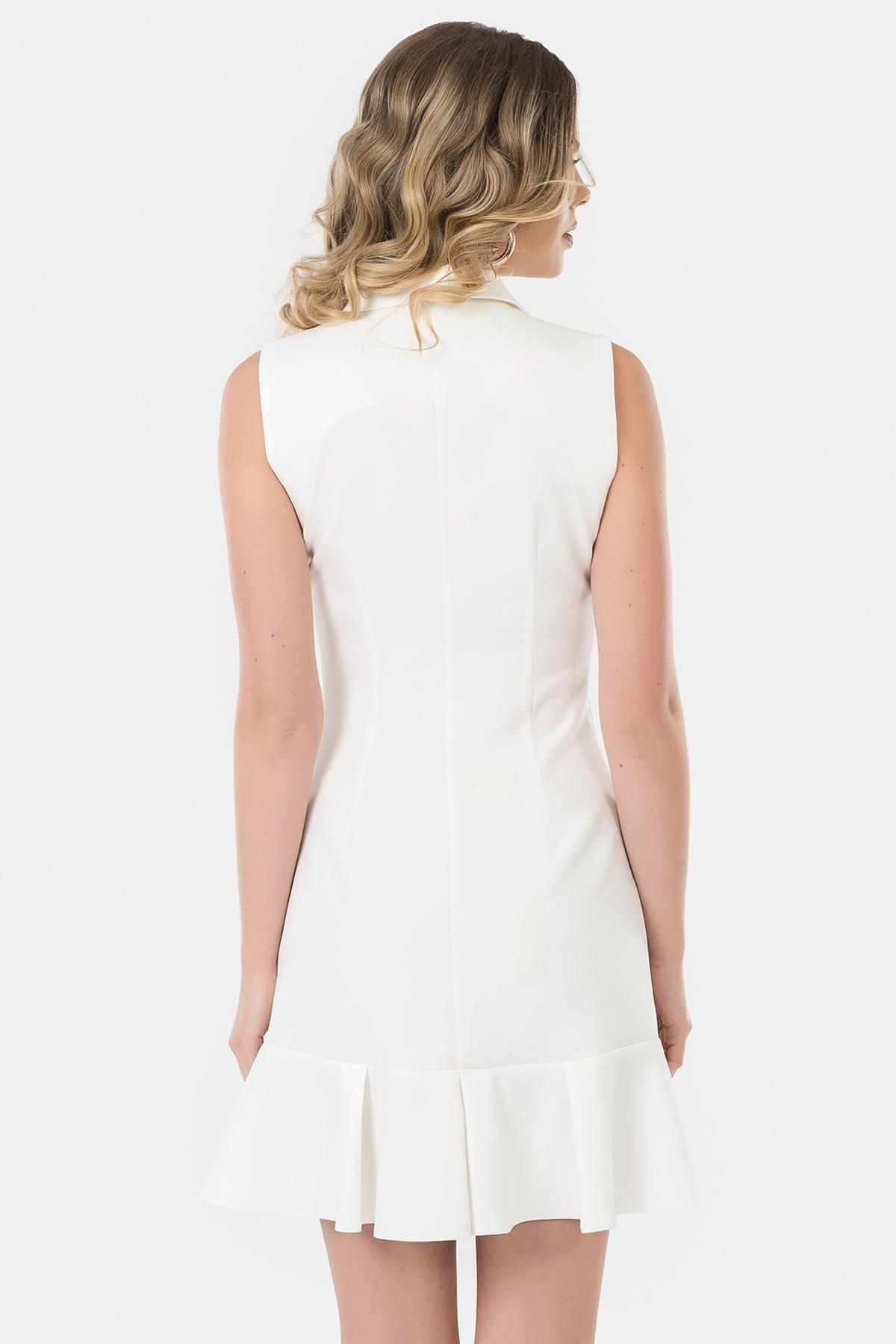 İroni Kadın Ekru Kolsuz Blazer Elbise 5132-891 2