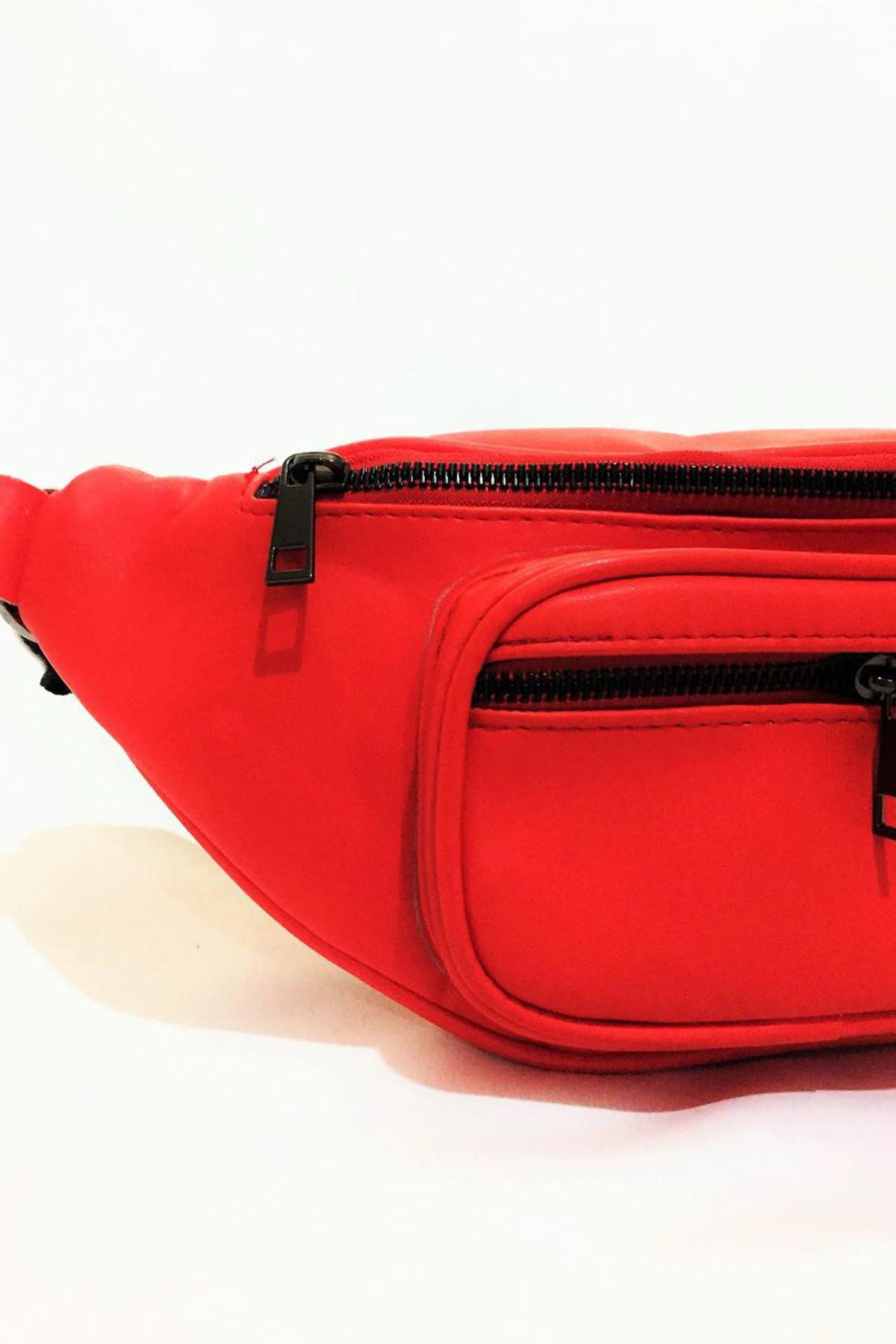 Dr. Stone Marka Kadın Kırmızı Rengi Deri Bel Çantası Xybdr59 1