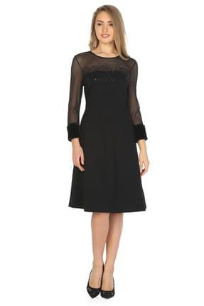 Hanna's by Hanna Darsa Kadın Siyah Boncuk Detaylı Elbise Hn393