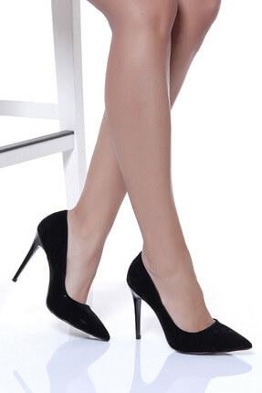Shoes Time Siyah Süet Kadın Topuklu Ayakkabı 18Y 708
