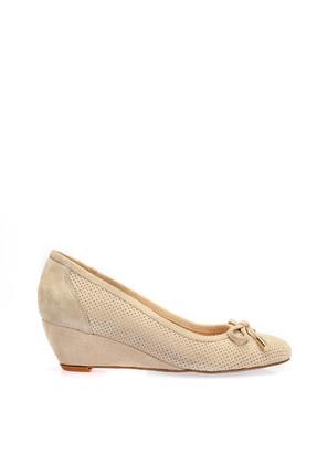 İnci Hakiki Deri Süet Bej Kadın Dolgu Topuklu Ayakkabı 120130006518