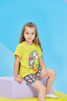 TWEETY Lisanslı Sarı Kız Çocuk Şortlu Takım