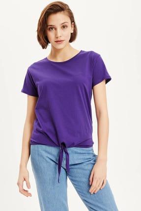 DeFacto Kadın Mor Düğüm Detaylı T-shirt K1981AZ.19SM.PR299