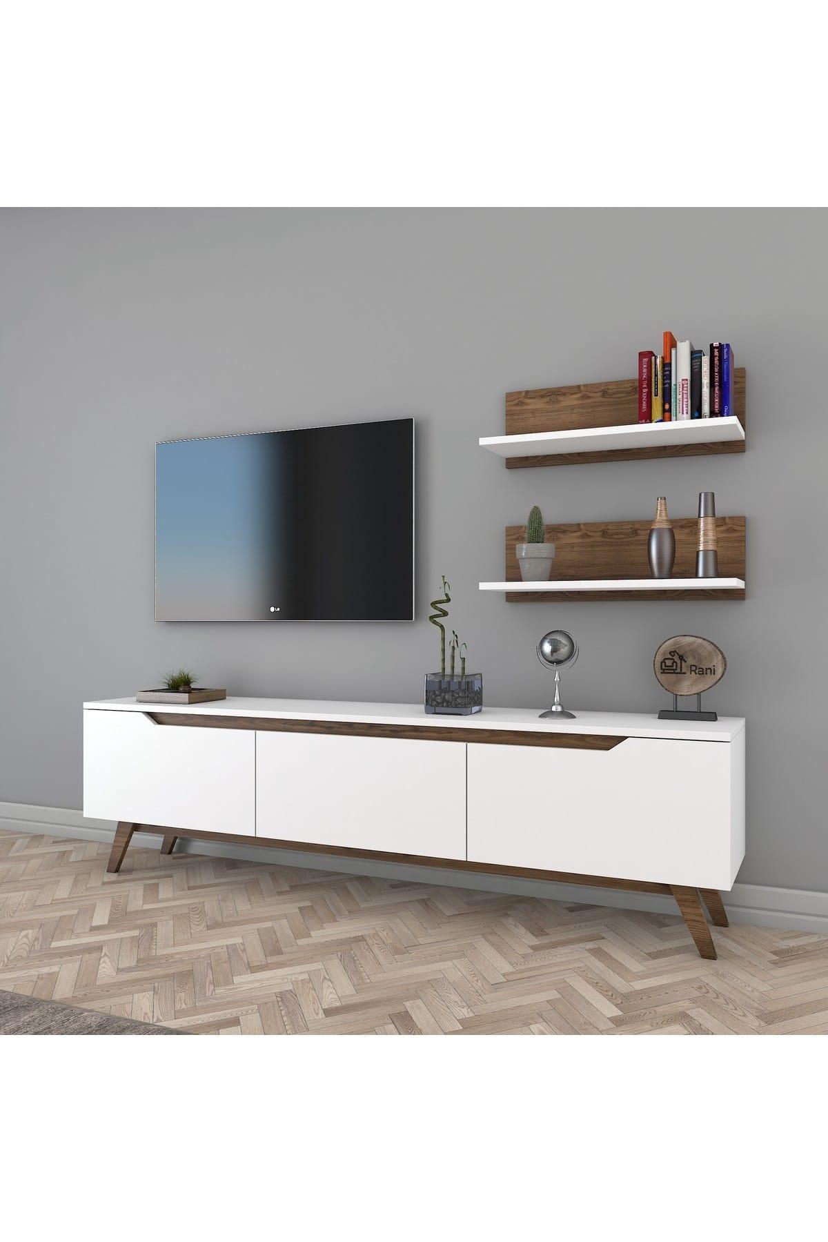 Rani Mobilya Rani D1 Duvar Raflı Kitaplıklı Tv Ünitesi Ahşap Ayaklı Tv Sehpası Beyaz Ceviz M48 1