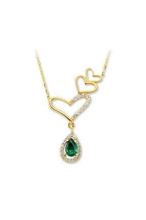 dalmarkt Kadın 925 Ayar Gümüş Üç Kalp Figürlü Sallatılı Yeşil Taşlı Kolye ADEJNQS51