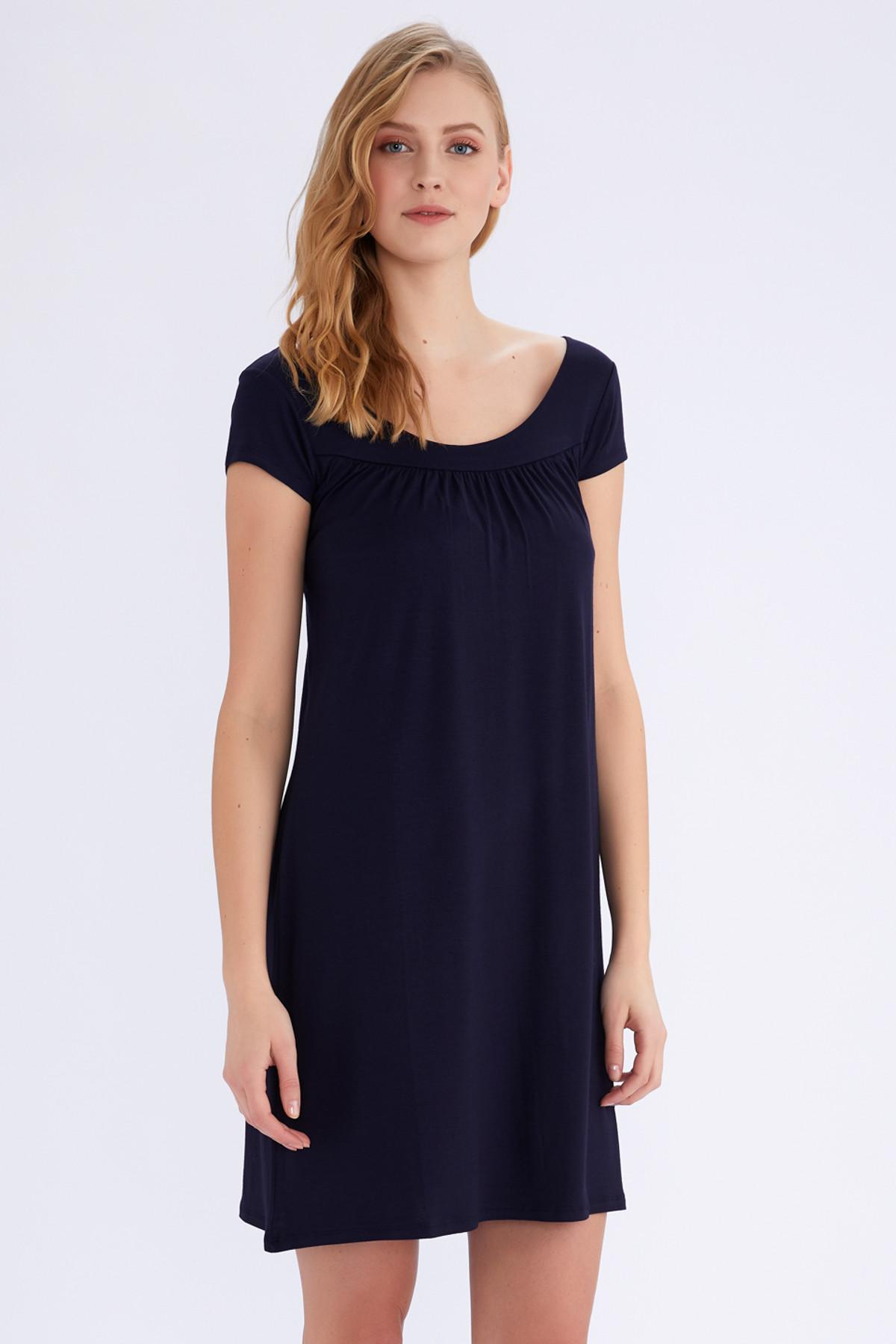 AYYILDIZ Kadın Lacivert Düz Elbise 59333 1