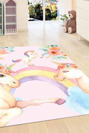 Else Halı 120X180 Kadser Pembe Unicorn Atli Kiz 3D Modern Bebek Çocuk Odasi Halisi