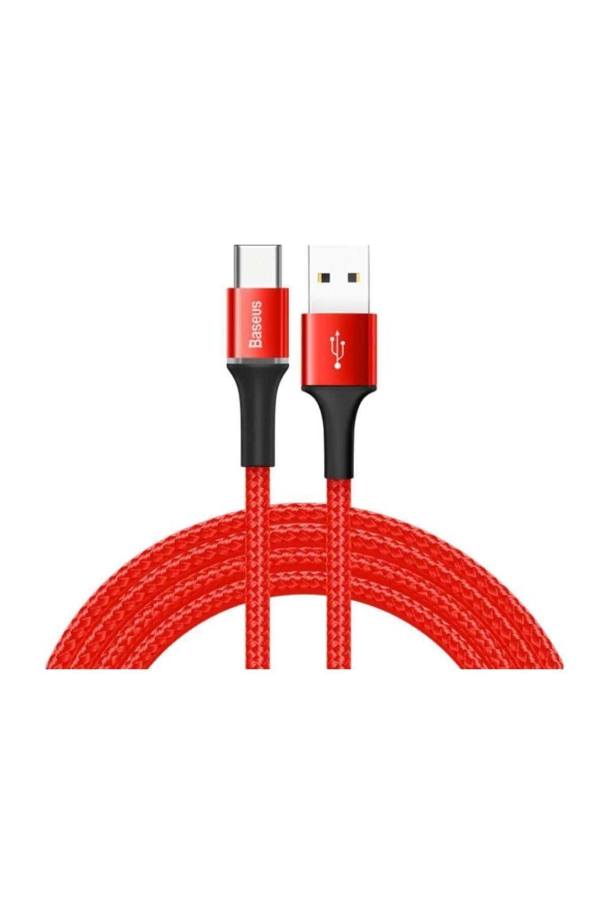 Baseus Halo Type-c Şarj Ve Data Kablo Uzun 2m 3a Işıklı Kırmızı 1